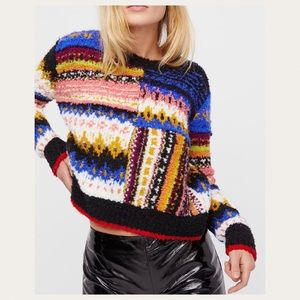 Free People Best Day Ever Knit Multi Sweater Small